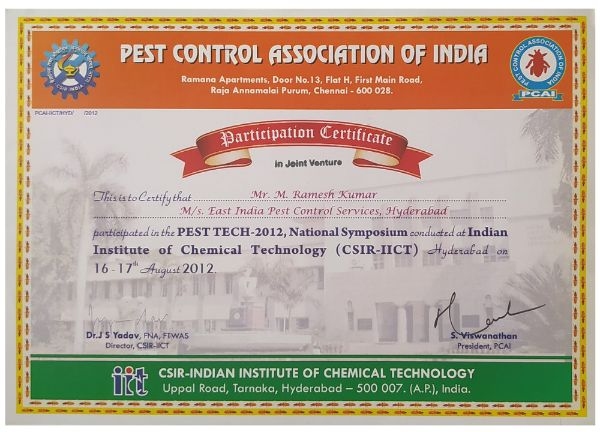 csir iict certification for pestcontrolls east india pest control service hyderabad - best pest control service in hyderabad