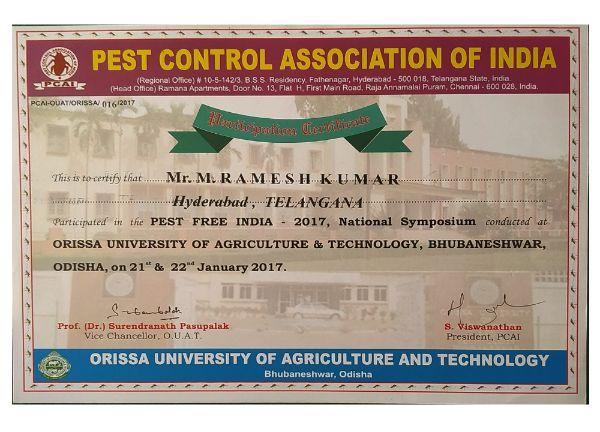 pcai 2017 certification pestcontrolls east india pest control service hyderabad - best pest control service in hyderabad